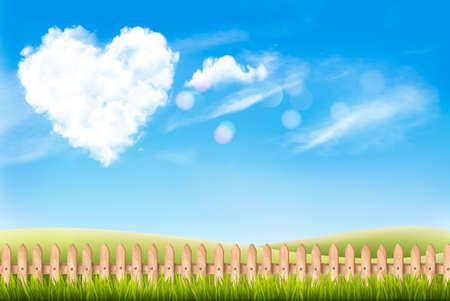 Nature background with blue sky and heart shape cloud. Valentine Day Background, Vector illustration
