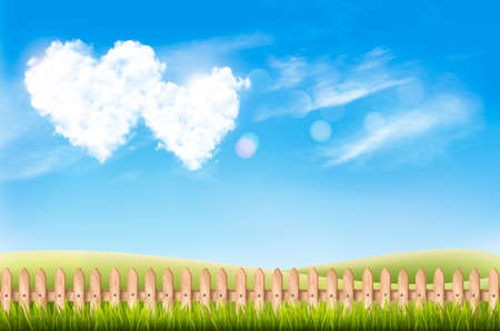 Nature background with blue sky and two heart shape clouds. Valentine Day Background, Vector illustration