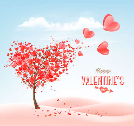 Valentines Day holiday background with heart shape tree and blue sky. Concept of love.