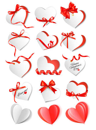 Set of gift cards with red gift bows and hearts. Valentines day.