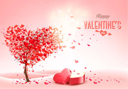 Valentines Day holiday background with  heart shape tree and red magic box. Concept of love. Illustration