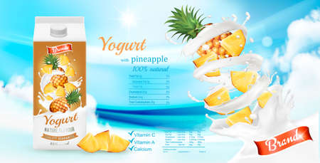 Fruit yogurt with fresh pineapple in box. Advertisment design template. Vector