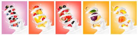 Big collection of fruit in a milk splash.