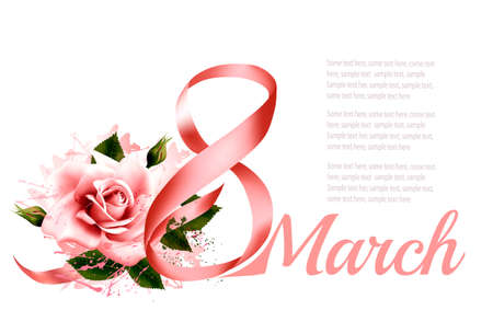 8th March illustration with a pink rose. International Womens Day. Vector. Иллюстрация