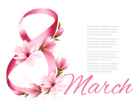 8th March illustration with a pink flowers. International Womens Day. Vector.