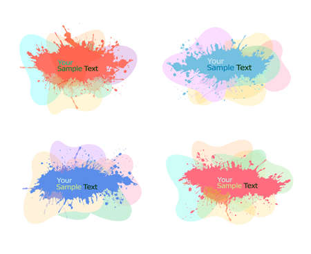 Collection of modern colorful abstract watercolor banners. Vector illustration