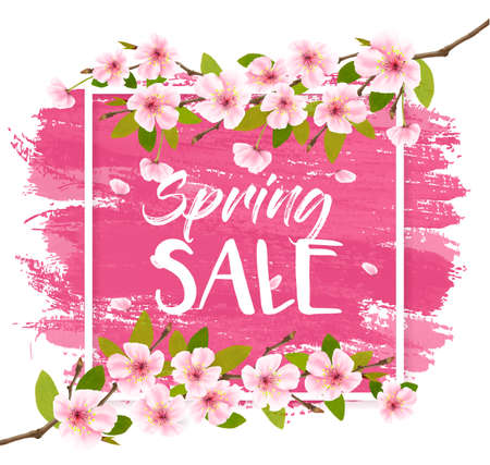 Spring sale background with pink blooming sakura. Illustration