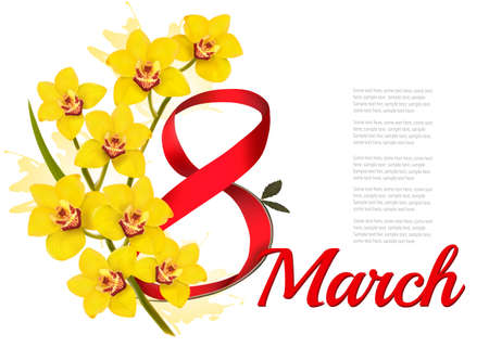 8th March illustration. Holiday yellow flowers background. Vector.