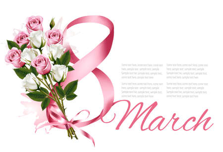 8th March illustration with colorful roses. International Womens Day. Vector. Иллюстрация