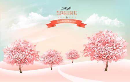 Fond de nature printanière avec des cerisiers en fleurs et un ciel avec des nuages. Vecteur.