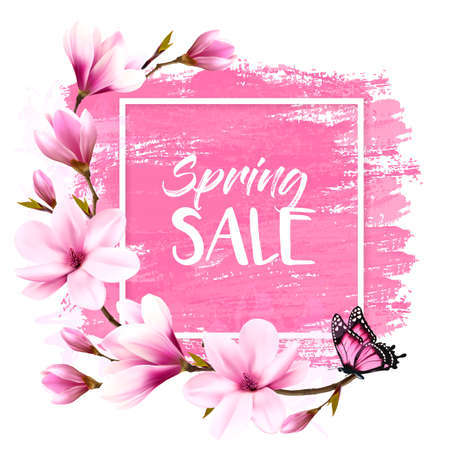 Spring sale background with pink blooming magnolia and butterfly. Vector Иллюстрация
