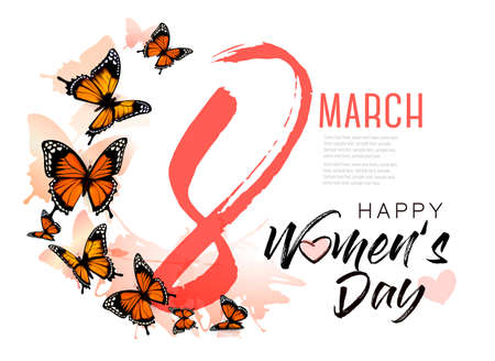 8th March illustration with beautiful butterflies. International Womens Day. Vector.