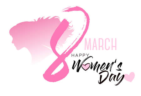 8th March illustration with women silhouette. International Womens Day.