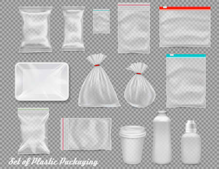 Big set of polypropylene plastic packaging - sacks, tray, cup on transparent