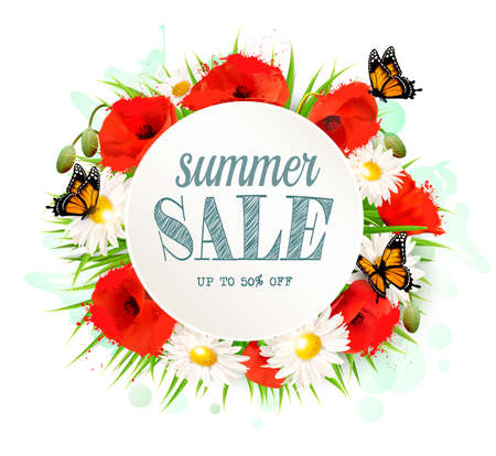 Summer sale background with poppies, daisies and butterflies. Vector.