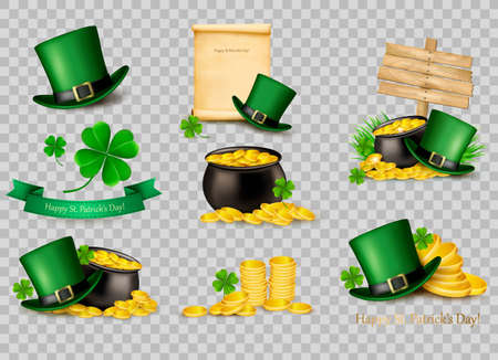 Big collection of St. Patricks Day related icons. Vector. Illustration