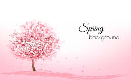Beau fond avec un arbre de sakura en fleurs roses. Vecteur. Vecteurs