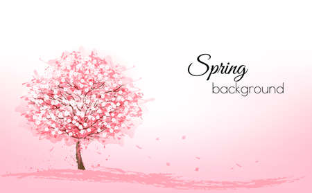 Beautiful background with a pink blooming sakura tree. Vector.