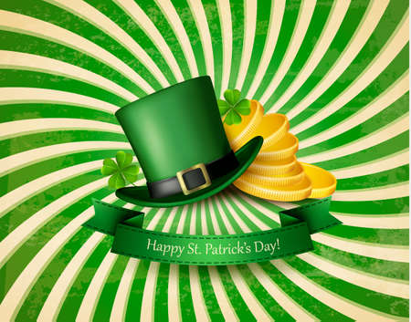 Saint Patricks Day background with a green hat and gold coins. Vector illustration.  Illustration