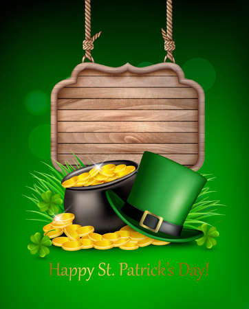 Saint Patricks Day background with a green hat and gold coins and wooden sign. Vector illustration.