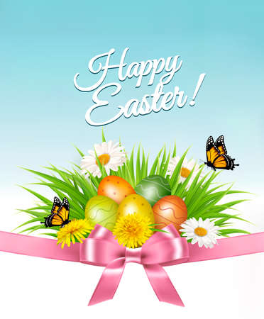 Happy Easter background. Easter eggs in green grass and flowers. Vector. Illustration