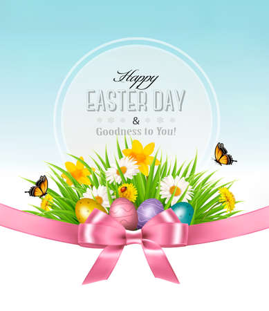 Happy Easter background. Easter eggs in green grass and flowers. Vector. Иллюстрация