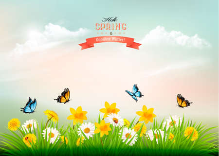 Nature spring background with grass and flowers and butterflies.