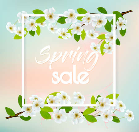 Sale spring background with cherry blossoms. Vector.