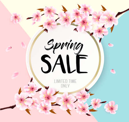 Spring sale background with a pink blooming sakura. Vector