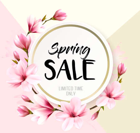 Spring sale background with pink blooming magnolia. Vector