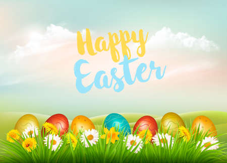 Easter Holiday Background. Colofrul eggs in green grass and colorful flowers. Vector.