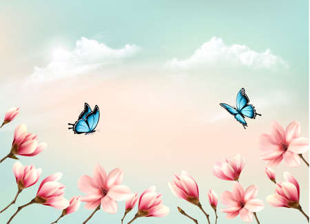 Nature spring background with a pink magnolia branches on blue sky. Vector.