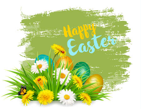 Easter Holiday Background with colofrul eggs in green grass and spring flowers.
