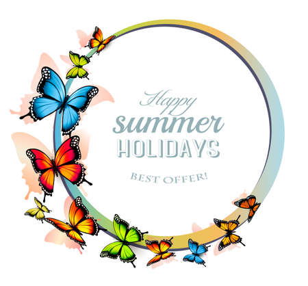 Happy Summer Holiday background with colorful butterflies.