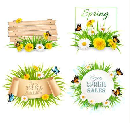 Set of spring sale banners with flowers and cards. Vector. Ilustrace