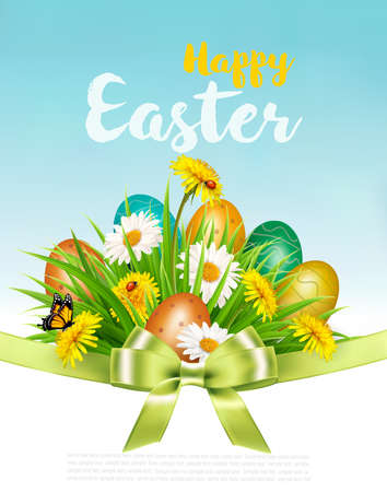 Easter Holiday Background. Colofrul eggs in green grass and flowers. Vector. Illustration