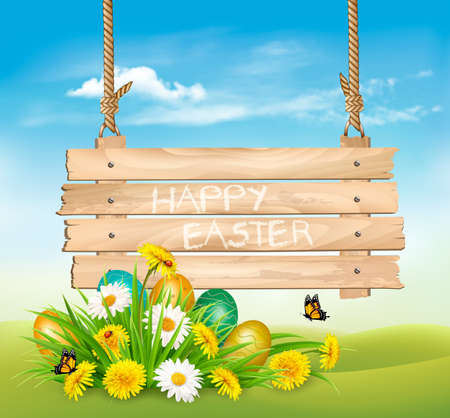 Easter Holiday Background with colofrul eggs in green grass and wooden sign.