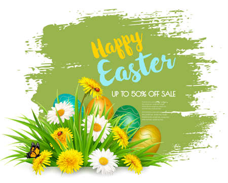 Easter Sale Background with colofrul eggs in green grass and spring flowers. Illustration