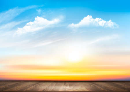 Sunset sky background with transparent clouds and wooden floor. Vector illustration