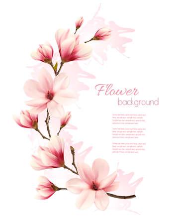 Bellissimo sfondo rosa magnolia. Vettore. Vettoriali
