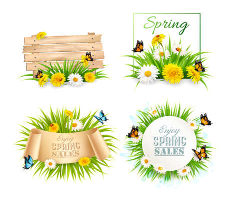 Set of spring sale banners with flowers and cards. Vector. Иллюстрация