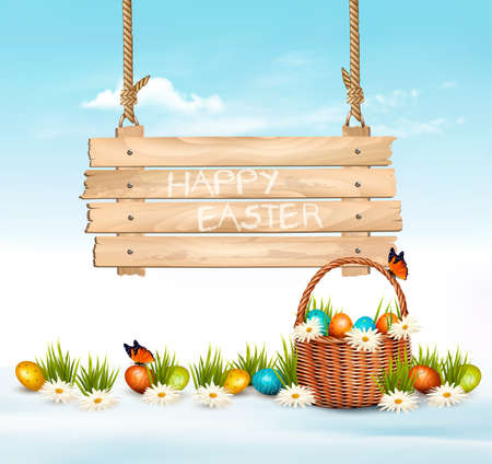 Easter Holiday Background with colofrul eggs in green grass and wooden sign. Vector. Ilustrace