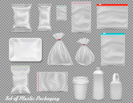 Big set of polypropylene plastic packaging - sacks, tray, cup on transparent background. Vector illustration Иллюстрация