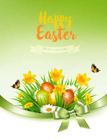Holiday easter background with a colorful eggs and spring flowers in grass. Vector.