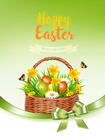 Holiday easter getting card with a colorful eggs and spring flowers in basket. Vector.