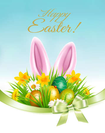 Holiday easter background with a colorful eggs and spring flowers and bunny rabbit ears. Vector. Ilustrace