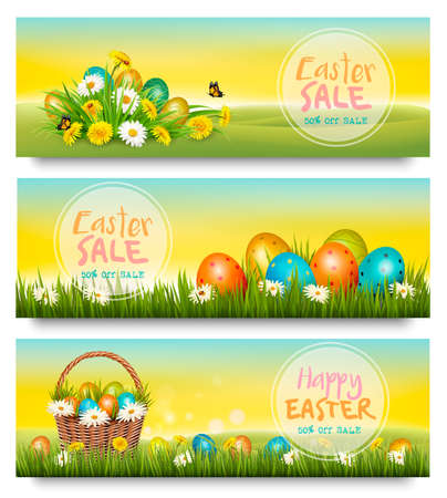 Three Easter Sale banners. Colorful eggs in green grass and spring flowers. Vector. Иллюстрация