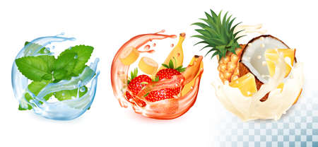 Collection of fruit in a water and juice splash. Mint, strawberry, banana, pineapple, coconut. Vector Set