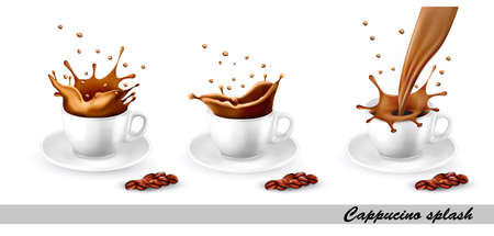 Set of coffee and cappuccino splash in cup. Vector illustration.
