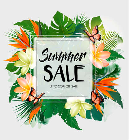 Tropical Summer Sale Background With Exotic Leaves And Coloful Flowers. Vector Иллюстрация